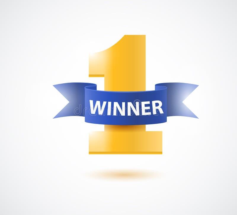 O vencedor, numera um fundo com fita azul, ramo de oliveira e confetes no branco ilustração royalty free