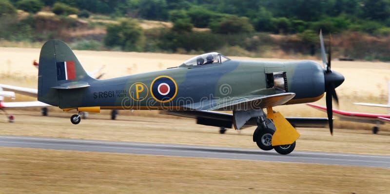O vendedor ambulante Sea Fury é um avião de lutador britânico projetado e manufaturado pelo vendedor ambulante imagem de stock