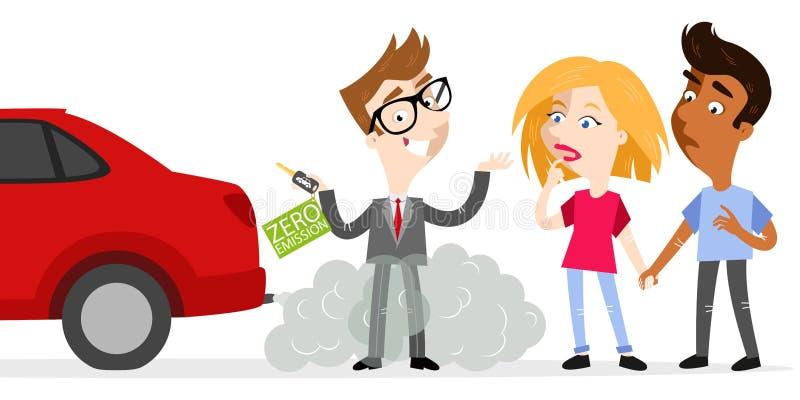 O vendedor dos desenhos animados que guarda chaves do carro etiquetou a emissão zero enquanto estando em gáss de exaustão com os  ilustração do vetor