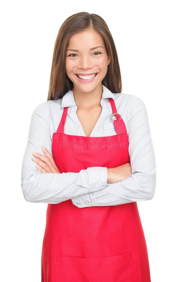 O vendedor/vendas pequenos clerk isolado foto de stock