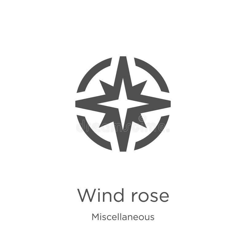 o vento aumentou vetor do ícone da coleção variada A linha fina vento aumentou ilustração do vetor do ícone do esboço Esboço, lin ilustração royalty free