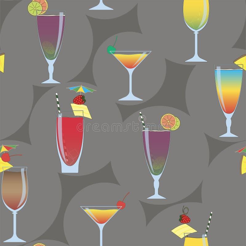O verão coloriu o teste padrão sem emenda com os cocktail alcoólicos diferentes ilustração do vetor