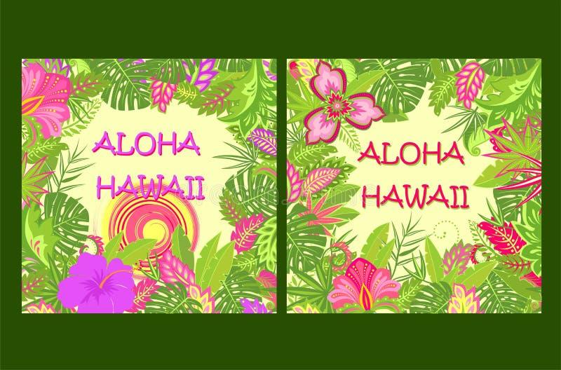 O verão da camisa imprime a variação com rotulação de Aloha Hawaii, as folhas tropicais, o sol quente e as flores exóticas  ilustração royalty free