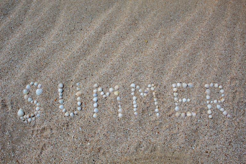 O verão da palavra é apresentado na areia com escudos fotografia de stock royalty free