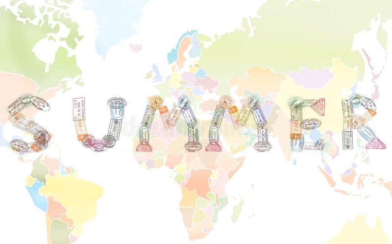 O VERÃO da palavra criado com o passaporte carimba no fundo do mapa do mundo, conceito do curso ilustração stock