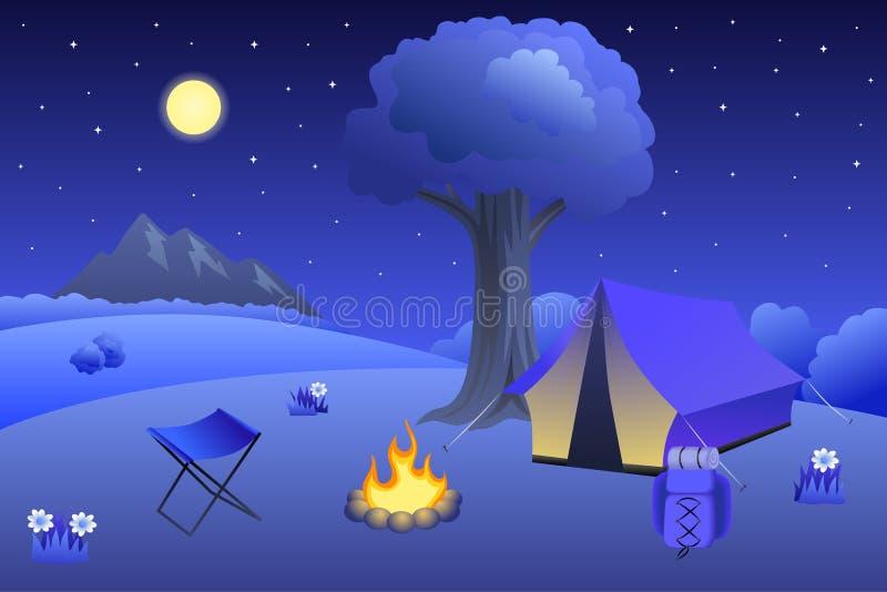 O verão de acampamento do prado ajardina a ilustração da árvore da fogueira da barraca da noite ilustração do vetor