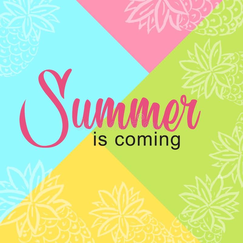 O verão do cartão está vindo no fundo colorido ilustração stock