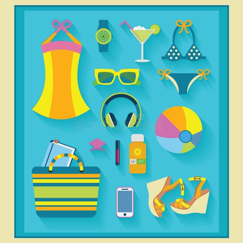 O verão e a praia relacionaram os ícones ajustados ilustração stock