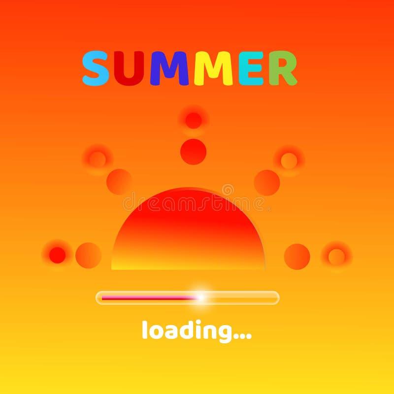 O verão está carregando a mensagem gráfica criativa para seu projeto do verão Fundo alaranjado borrado com tipografia colorida ilustração do vetor