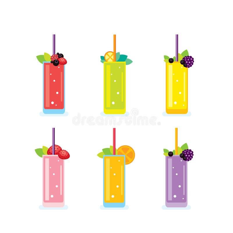 O verão fresco bebe vidros do batido e do suco ilustração stock