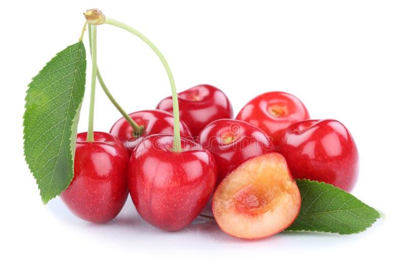 O verão fresco da cereja das cerejas frutifica fruto isolado no branco imagens de stock