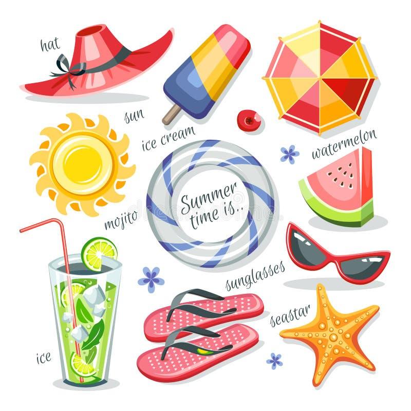 O verão objeta a coleção ilustração do vetor