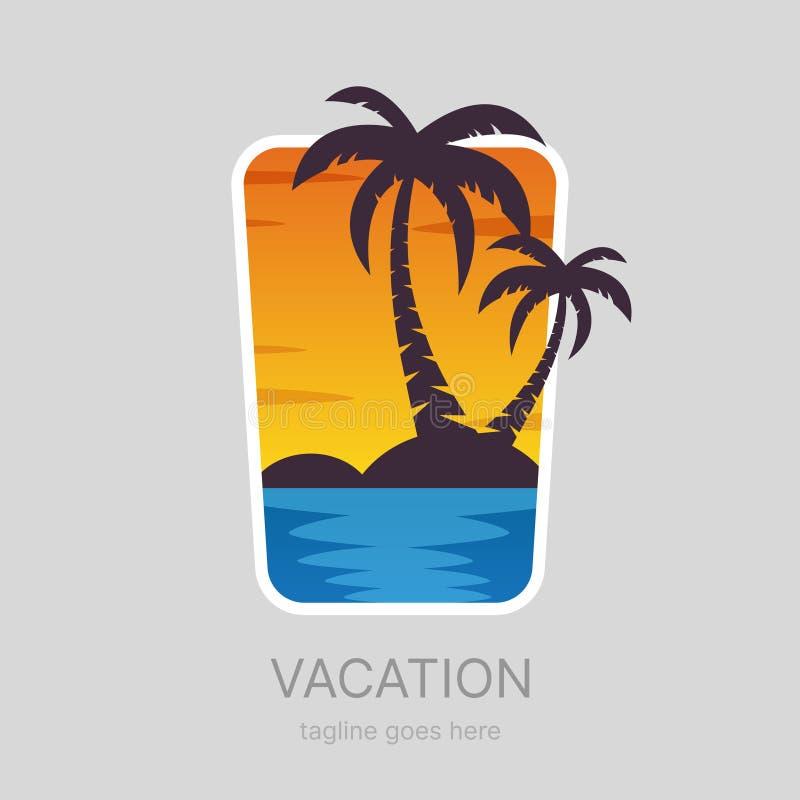O verão, paisagem tropical das férias, palmas encalha o logotype ilustração do vetor