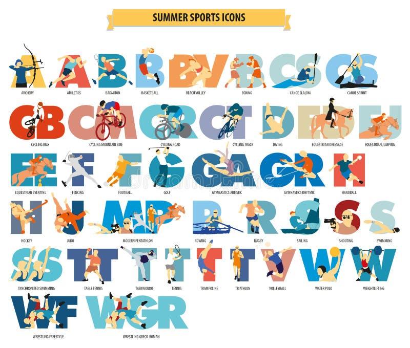 O verão popular ostenta ícones imagens de stock