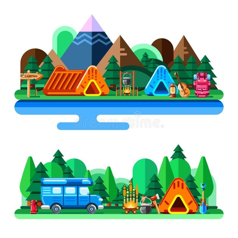 O verão que acampa na floresta e nas montanhas, vector a ilustração lisa do estilo Conceito do turismo das aventuras, do curso e  ilustração do vetor