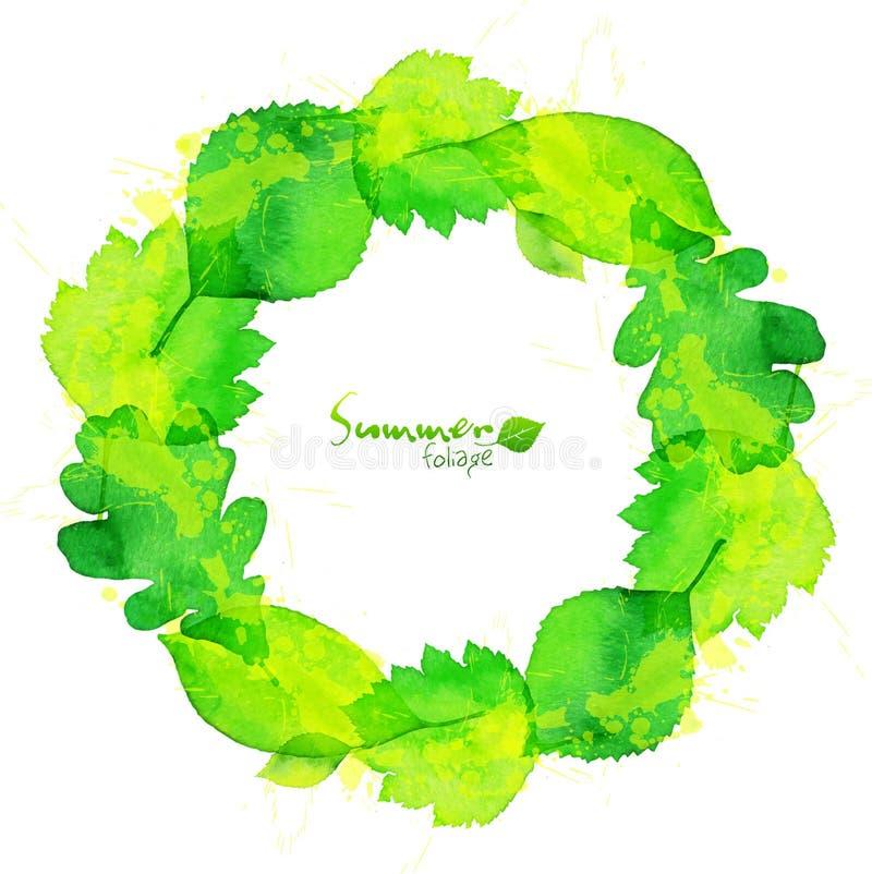 O verão verde da aquarela deixa a grinalda do vetor ilustração royalty free