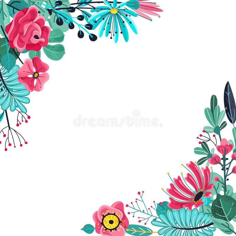 O ver?o floresce o quadro Aniversário floral de florescência da mola da beleza da natureza da planta da flor floral do jardim par ilustração stock