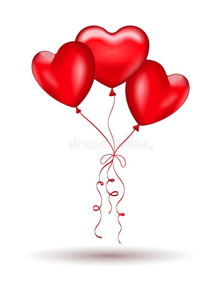 O verbo copulativo do gel vermelho balloons na forma de um coração ilustração stock
