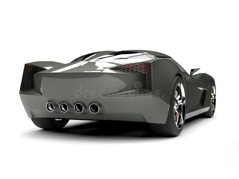 O verde azeitona escuro ostenta a opinião traseira automobilístico do conceito ilustração royalty free