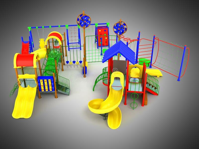 O verde azul amarelo vermelho 3d do conceito do campo de jogos do ` s das crianças rende sobre ilustração royalty free