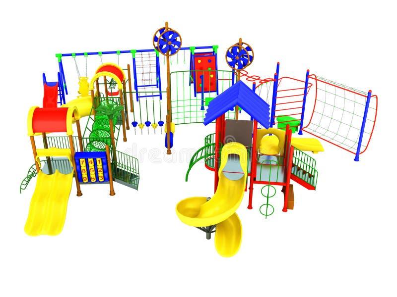 O verde azul amarelo vermelho 3d do conceito do campo de jogos do ` s das crianças rende sobre ilustração stock