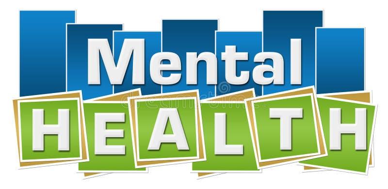 O verde azul de saúde mental esquadra listras ilustração do vetor