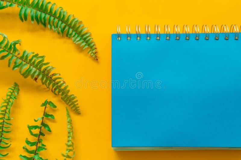 O verde azul do caderno sae m?nimo no fundo amarelo fotos de stock royalty free
