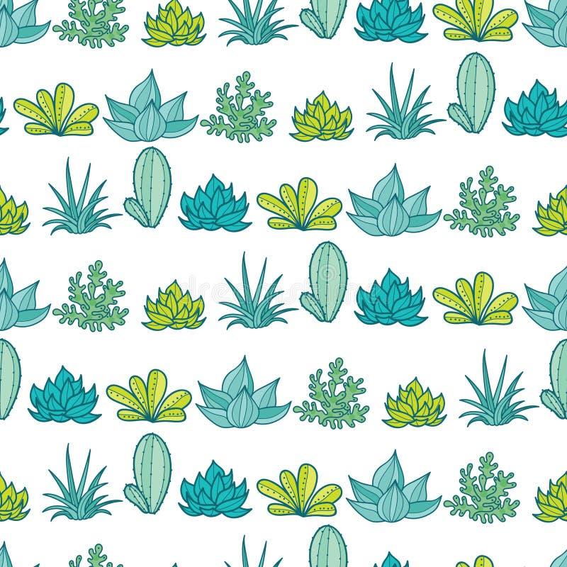 O verde azul do vetor listra o teste padrão sem emenda da repetição com plantas carnudas e os cactos crescentes em uns potenciôme ilustração royalty free