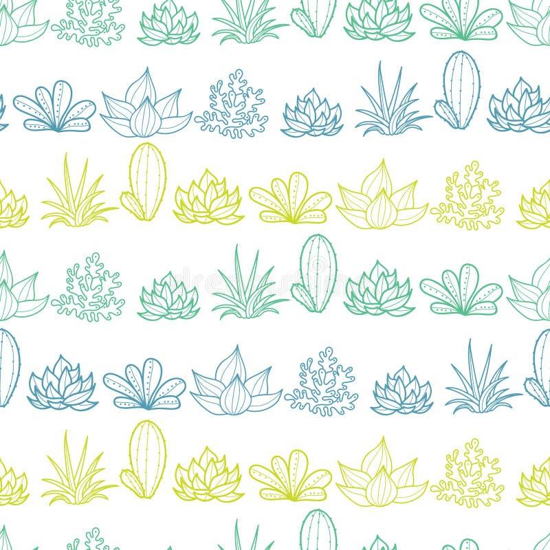 O verde azul Lineart do vetor listra o teste padrão sem emenda da repetição com plantas carnudas e os cactos crescentes em uns po ilustração stock