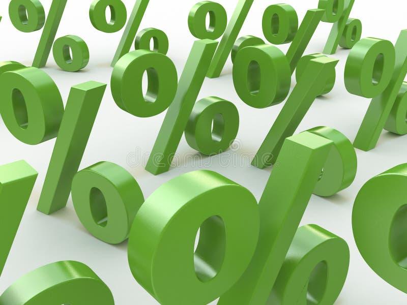 o verde 3D assina por cento ilustração royalty free