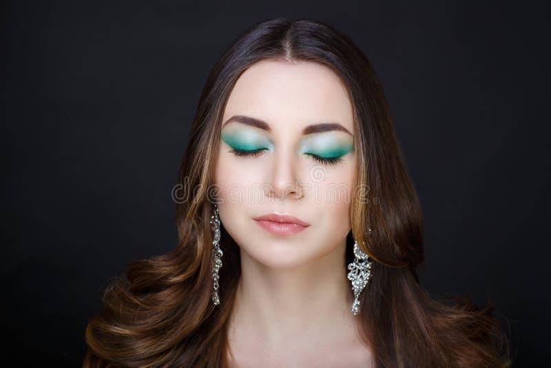 O verde da mulher compõe fotografia de stock