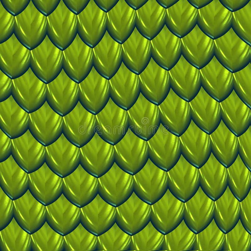 O verde da pele do dragão escala o fundo ilustração do vetor