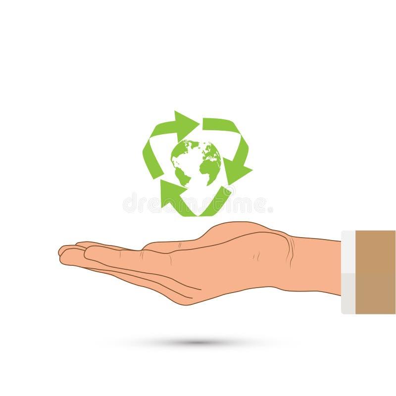 O verde da terra arrendada da mão recicla o sinal e o globo, conceito ambiental ilustração do vetor