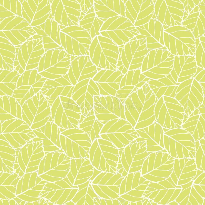 O verde de lite do vetor deixa o fundo sem emenda do teste padrão Aperfeiçoe para a tela, scrapbooking, projetos do papel de pare ilustração royalty free