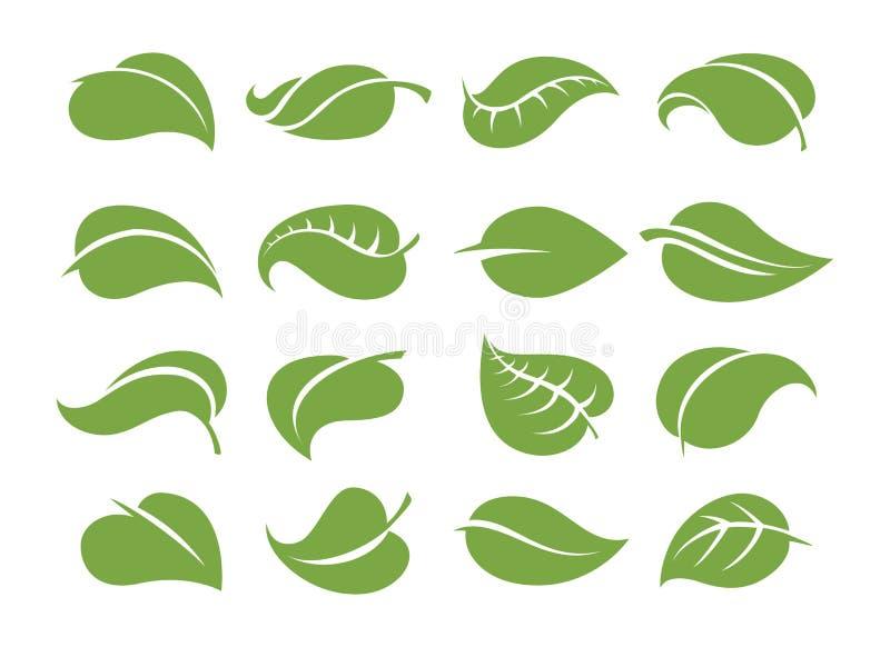 O verde deixa ícones ilustração royalty free