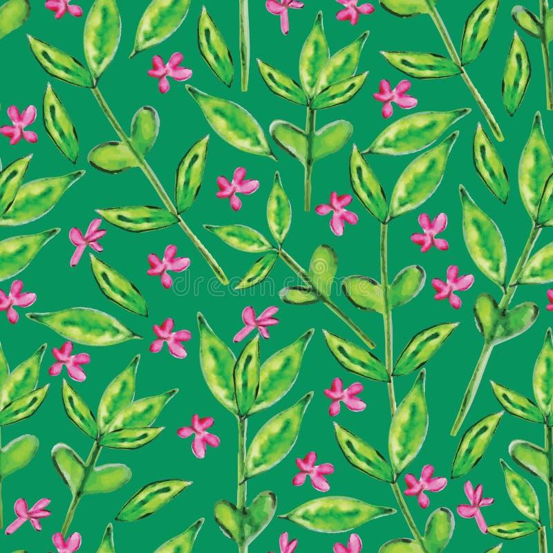 O verde deixa a aquarela o teste padrão sem emenda ilustração stock