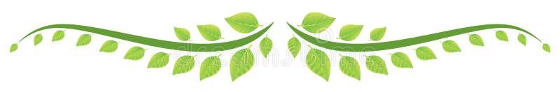 O verde deixa a beira ilustração stock