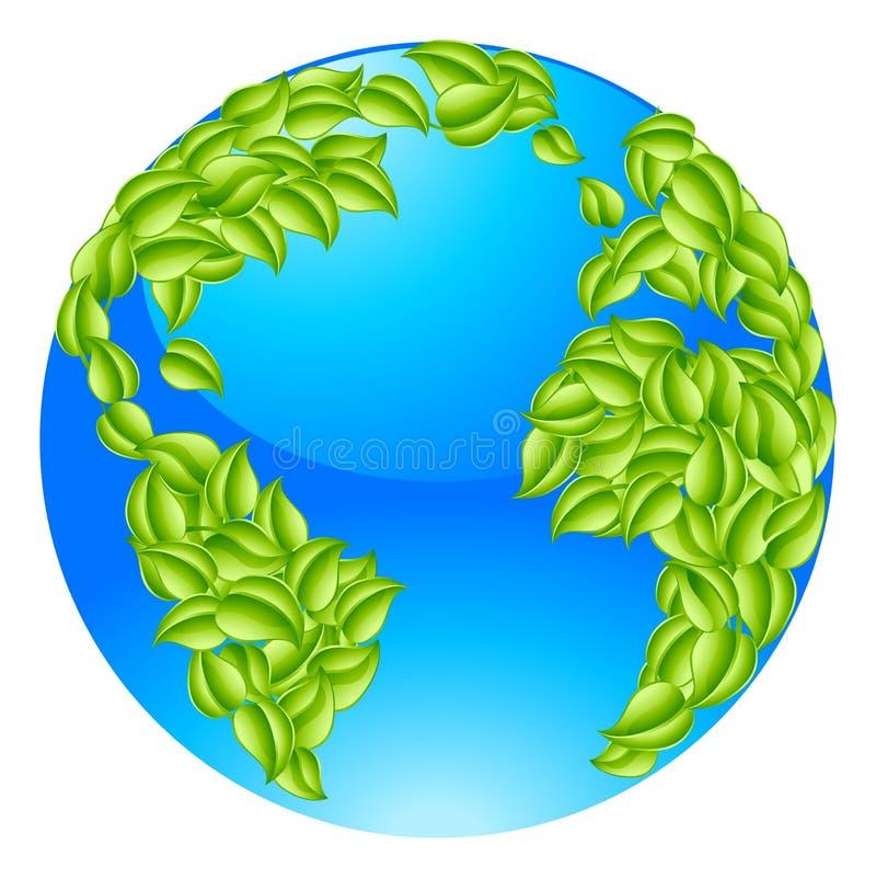 O verde deixa o conceito do mundo da terra do globo ilustração royalty free