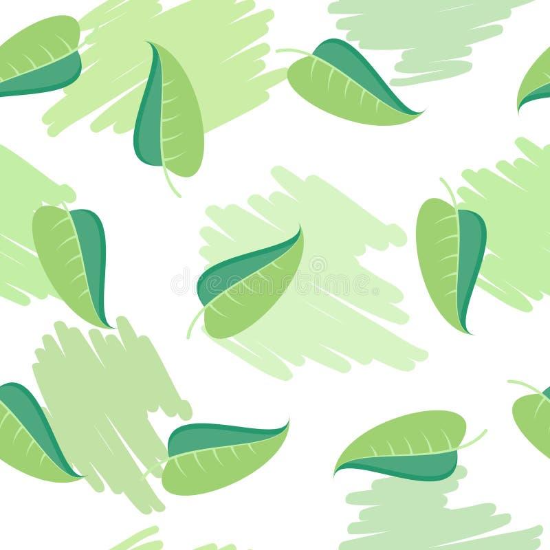 O verde deixa o teste padrão sem emenda ilustração stock