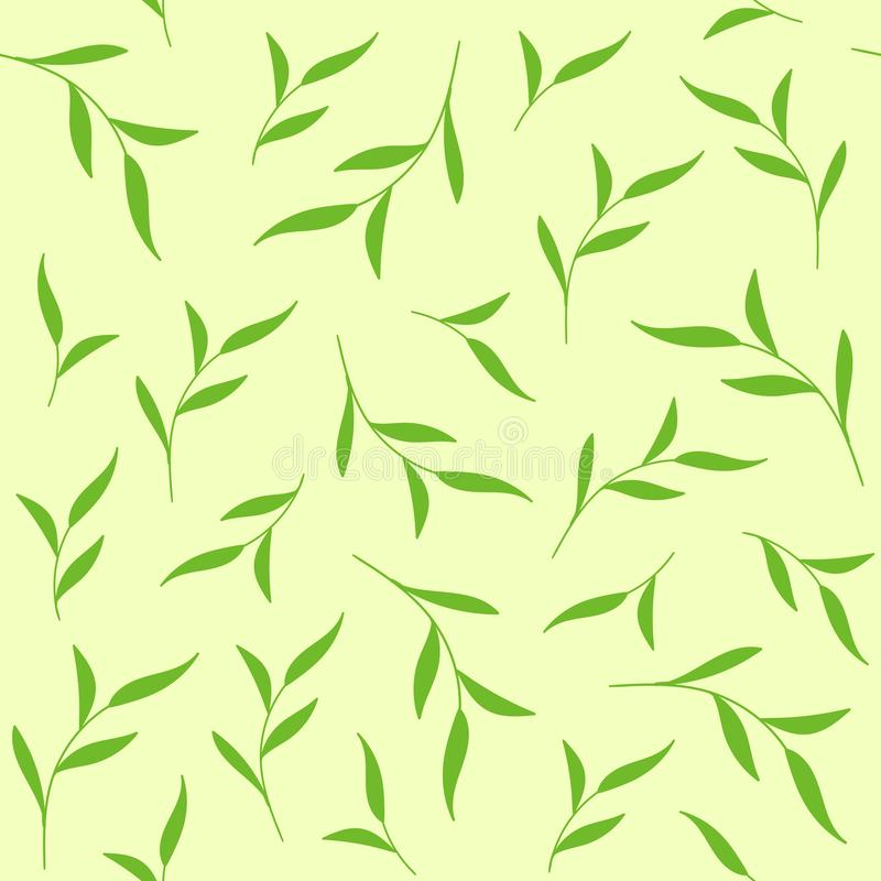 O verde deixa o teste padrão sem emenda Fundo do vetor para a cópia da tela, pacote do chá ilustração do vetor