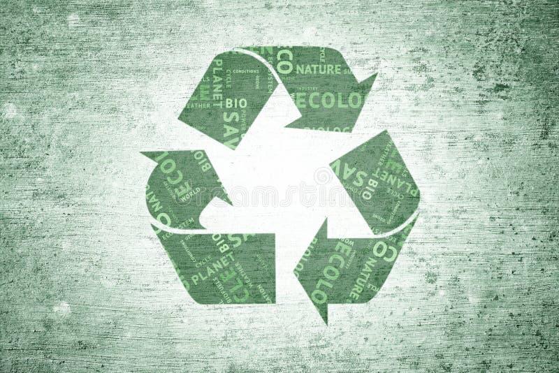 O verde do conceito do Grunge recicla o fundo do símbolo ilustração royalty free
