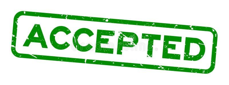 O verde do Grunge aceitou o selo de borracha do selo do quadrado de palavra no fundo branco ilustração do vetor