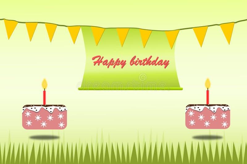 O verde e o bolo do tema do cartão do cartaz do feliz aniversario para crianças projetam o vetor e a ilustração ilustração do vetor