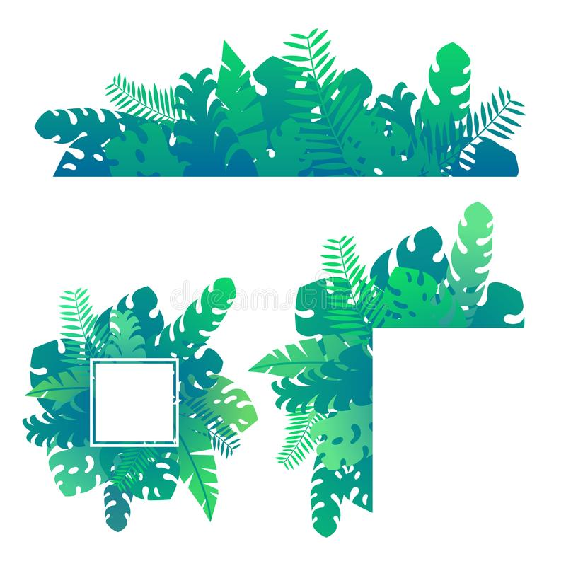 O verde exótico tropical ajustado da selva deixa e planta o molde ilustração royalty free