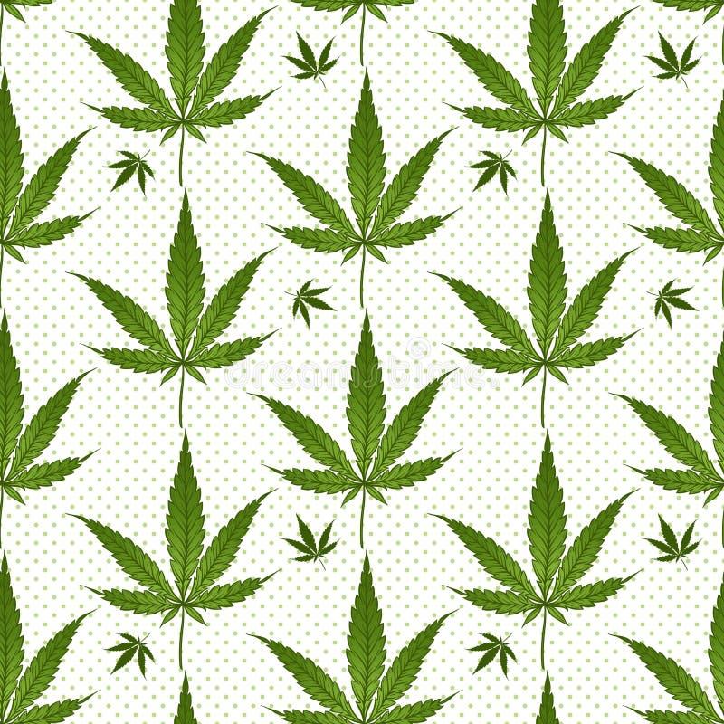 O verde médico da marijuana do teste padrão sem emenda folheia sobre às bolinhas no fundo branco Ilustração do vetor do cannabis ilustração royalty free