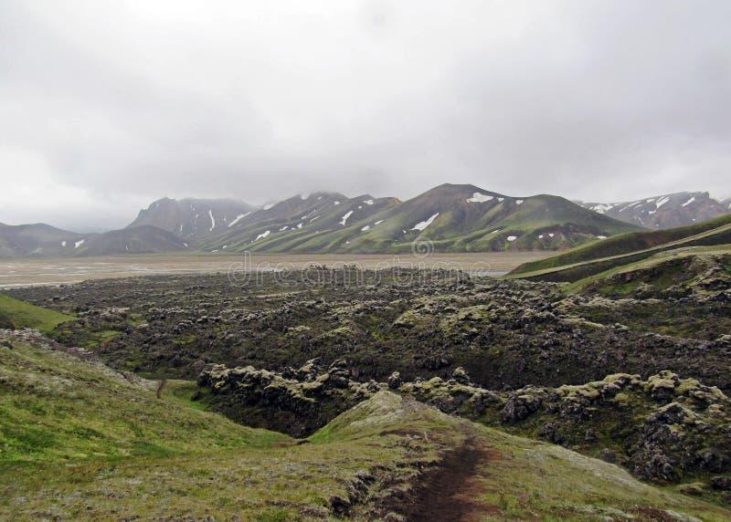 O verde musgo-cobriu montanhas e o campo de lava vulcânicos do blac Área de Landmannalaugar islândia fotos de stock