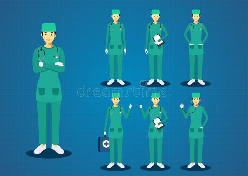 O verde novo dos doutores da mulher profissional esfrega os cabelos pretos uniformes todo o grupo do projeto de caráter da ação ilustração do vetor