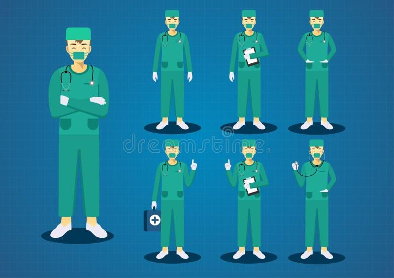 O verde novo profissional dos doutores esfrega os cabelos marrons curtos uniformes todo o grupo do projeto de caráter da ação ilustração do vetor