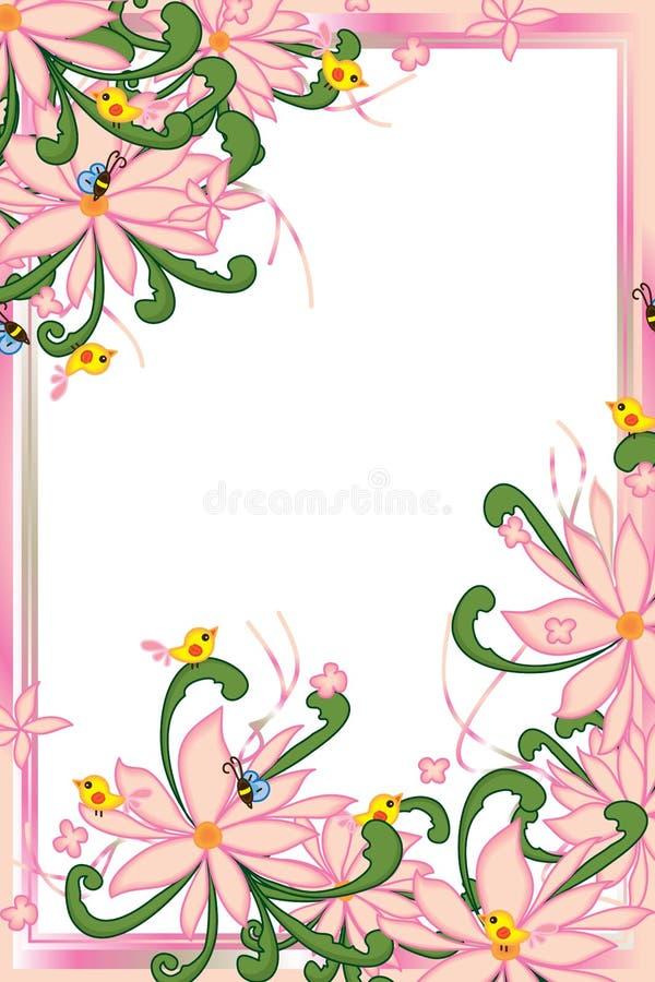 O verde pastel cor-de-rosa do redemoinho do pássaro da abelha da flor deixa o quadro ilustração royalty free