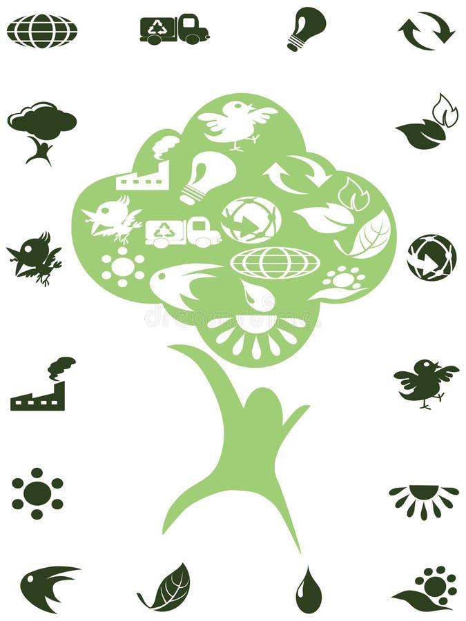 O verde recicl ícones na árvore ilustração do vetor